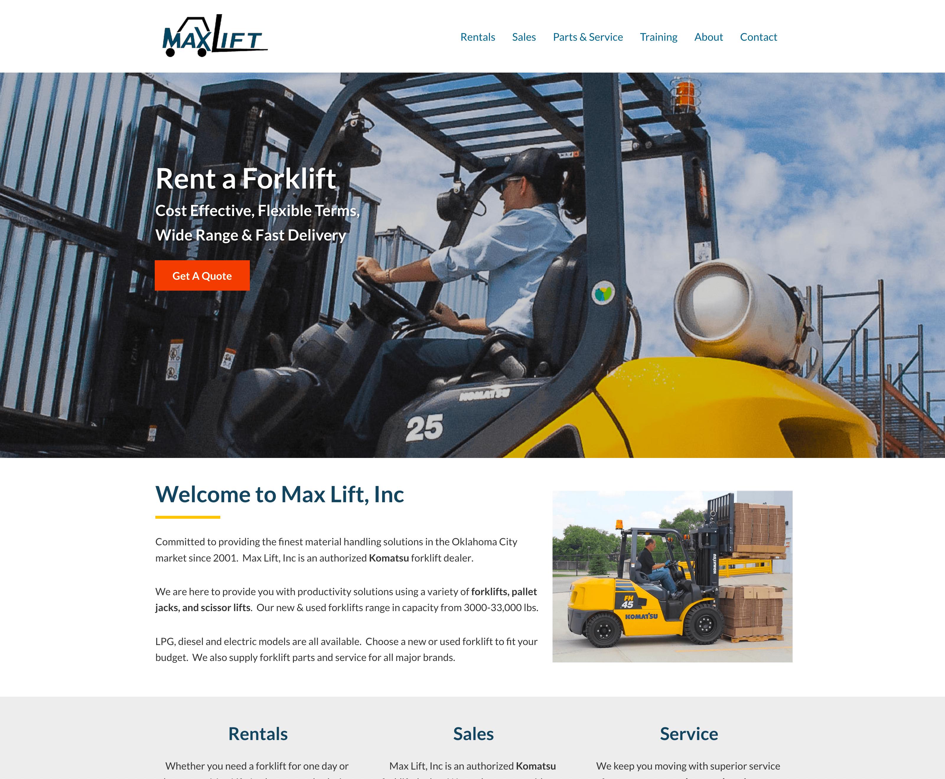 Okie Web Design - Project: MaxLift Inc